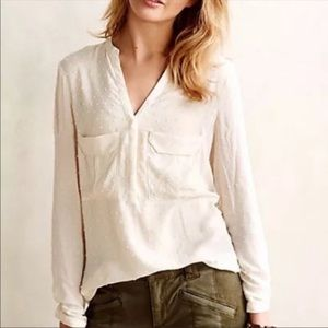 Maeve Textured Polka Dot Sheer Pullover blouse